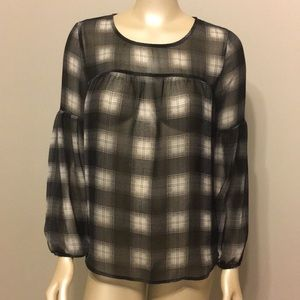 Old Navy sheer black and white plaid blouse